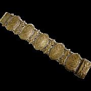 Vintage Art Nouveau Medallion Link Bracelet - Made in Spain