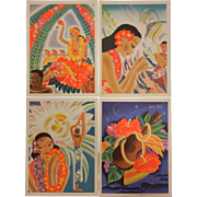 Set of 4 Vintage Art Work Honolulu 1940's Menus - S.S. Matsonia