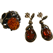 Fine Vintage Sterling Silver Amber Earrings & Ring - Size: 7.75