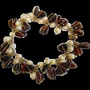 Lovely Vintage Wire Wrapped Garnet & Pearl Bead Bracelet
