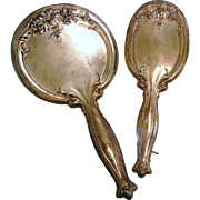 Antique WEBSTER Sterling Silver Vanity Set - Hand Mirror & Brush