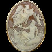 Superlative Amazing Grouping of Legendary Greek Mythological Creatures Large Signed Carved Natural Shell Cameo