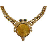 Vintage 14K Gold Necklace w/ 1915 $10 Indian Head Gold Coin & Diamonds & Sapphires