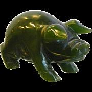 Carved Natural Jade Pig Figurine