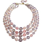 Vintage Layered Pink & Purple Glass and Nylon Bead Choker Necklace
