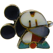 Vintage ZUNI Sterling Silver Inlaid Natural Stone Mickey Mouse Ring - Size: 8