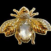 Vintage Gold-Tone Rhinestone Bug Pin