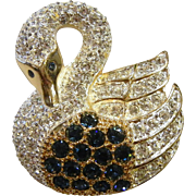 Vintage ROMAN Rhinestone Swan Brooch
