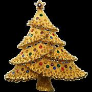 Vintage JJ Gold-Tone Rhinestone Christmas Tree Brooch