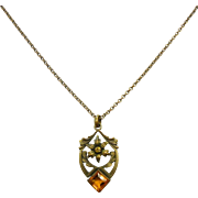 Vintage 1940's Floral Pendant Necklace w/ Yellow Rhinestone