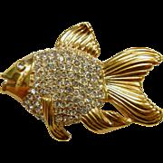 Vintage Signed ROMAN Rhinestone Fish Brooch