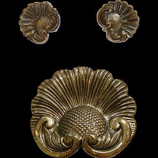 Vintage 3-Piece Sterling Silver Brooch & Screw Back Earrings Set by Jewel Art