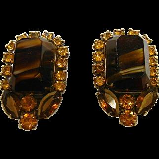 Vintage West Germany Brown Glass & Rhinestone Clip Earrings