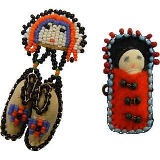 Pair of Vintage Native American Hand Beaded Pins Papoose Doll and Shoes