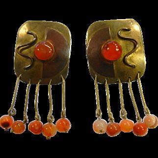 Vintage Brass Modernist Clip Earrings w/ Carnelian Beads