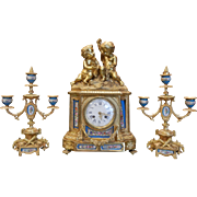 Antique Prize Medal 1851 Miroy Freres Brevetes French Sevres Porcelain Gilt Bronze Clock & Candlesticks Garniture