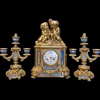 Antique Prize Medal 1851 Miroy Freres Brevetes French Sevres Porcelain Gilt Bronze Clock & Candlesticks Garniture
