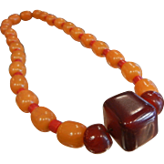 Vintage Orange Bakelite & Red Glass Bead Necklace