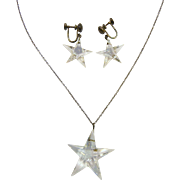 Vintage Sterling Silver Faceted Crystal Glass Star Necklace & Earrings Set