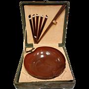 Vintage Signed Chinese Copper Bowl & Chopstick Set