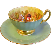 Vintage Aynsley England Bone China Teacup & Saucer Set - Green & Gold w/ Hand Painted Fruit