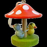 Vintage German Wood Carved Painted Ornament - Birds Under Mushroom