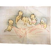 Vintage Hand Embroidered Kewpie Pillowcase