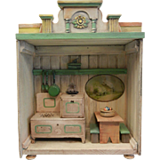 Vintage Wooden Doll  Doll House Kitchen with Contents