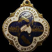 """Vintage GA Miller & Sons Enameled Medallion Fob """"Amalgamated Postal Workers Union of Australia"""""""