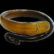 Unique Vintage Carved Horn Snake Bracelet