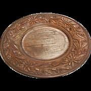 Vintage German Edelweiss Carved Wood Plate w/ Musical Pedestal