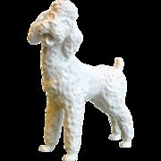 Vintage Signed White Porcelain French Poodle Dog Figurine - Made in Austria