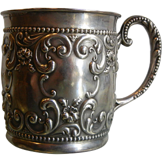Vintage Ornate Sterling Silver Cup Engraved w/ May
