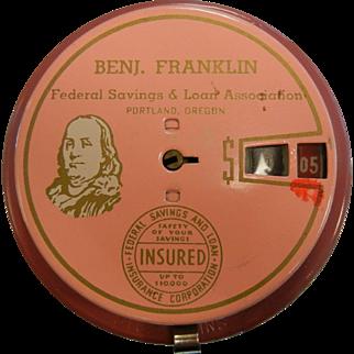 Vintage Patented 'Add o Bank' Benjamin Franklin Federal Savings & Loan Association