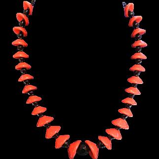Vintage Art Deco Red & Black Glass Bead Necklace