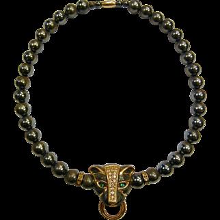 Vintage Beaded Necklace w/ Enamel & Rhinestone Panther Pendant - Signed K.J.L. for AVON