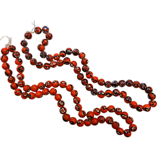 Two Strands of Vintage Venetian  Red & Black Glass Trade Beads
