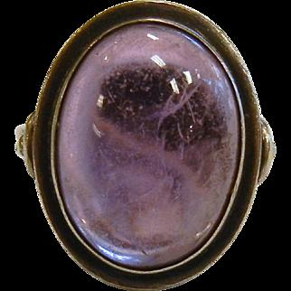 Vintage 800 Silver Natural Amethyst Cabochon Ring - Size: 7