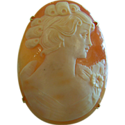 Beautiful Carved Seashell Cameo Brooch/Pendant
