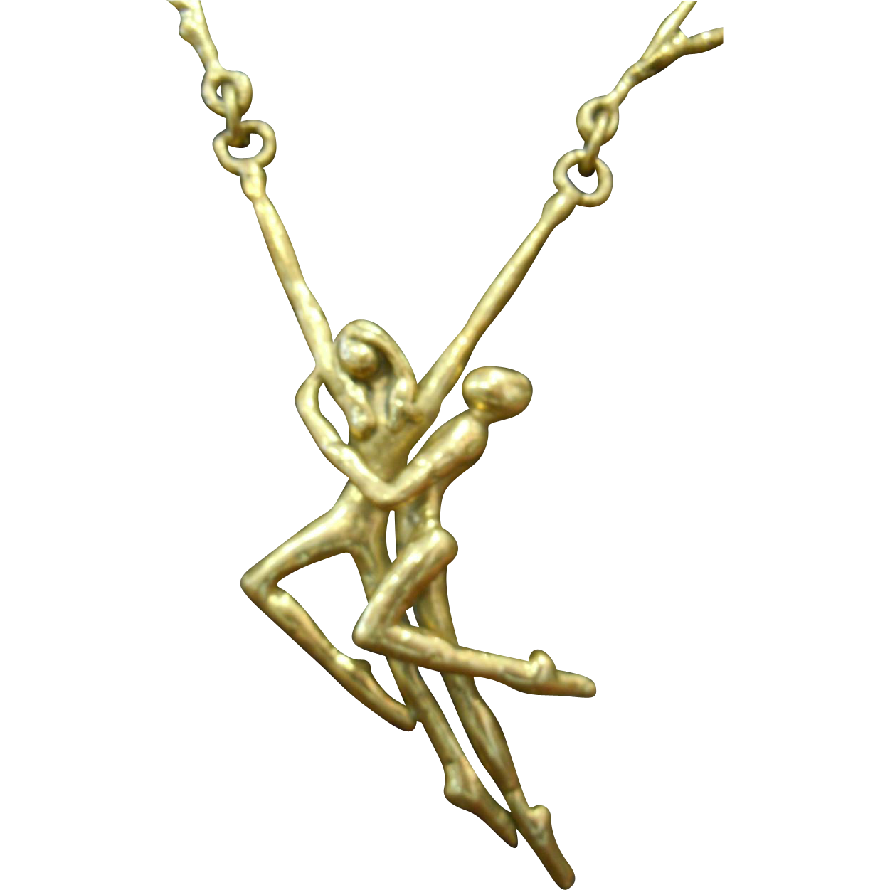 Modernist Brass/Bronze Sculptural Nude Dancing Necklace