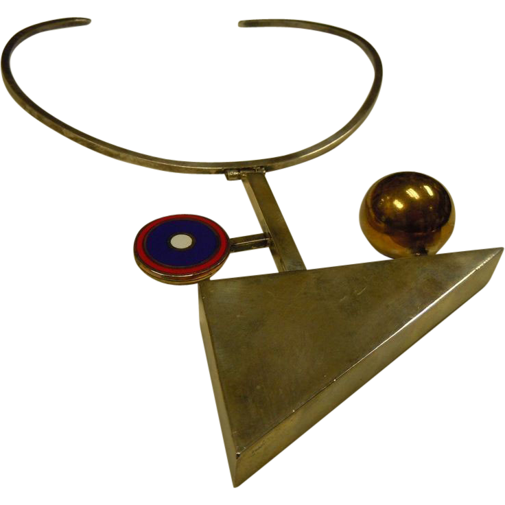 Fabulous Handmade English Designer Richard Barth Sterling Silver Geometric Neck Ring Necklace Wearable Art Piece
