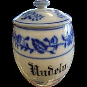 "Antique German Porcelain ""Nudeln"" Noodle/Pasta Kitchen Storage Jar"