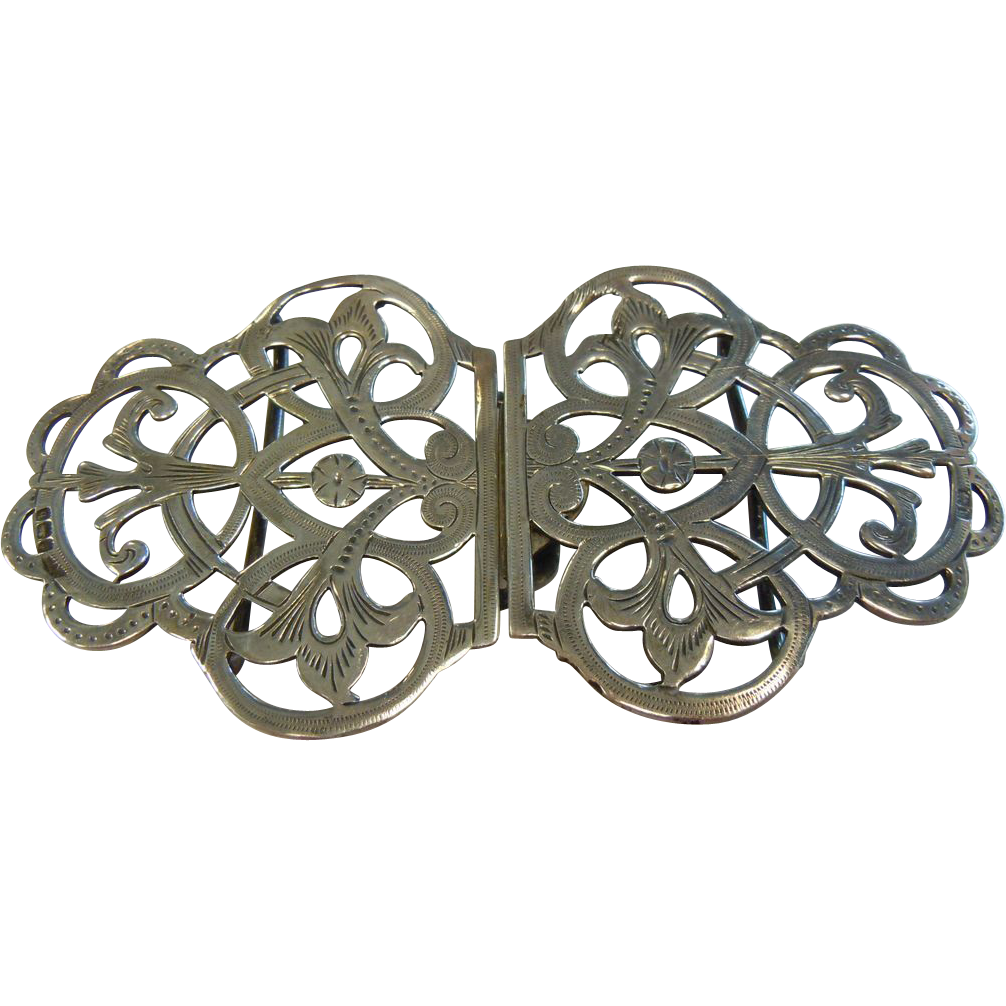 Antique English Sterling Silver Belt Buckle