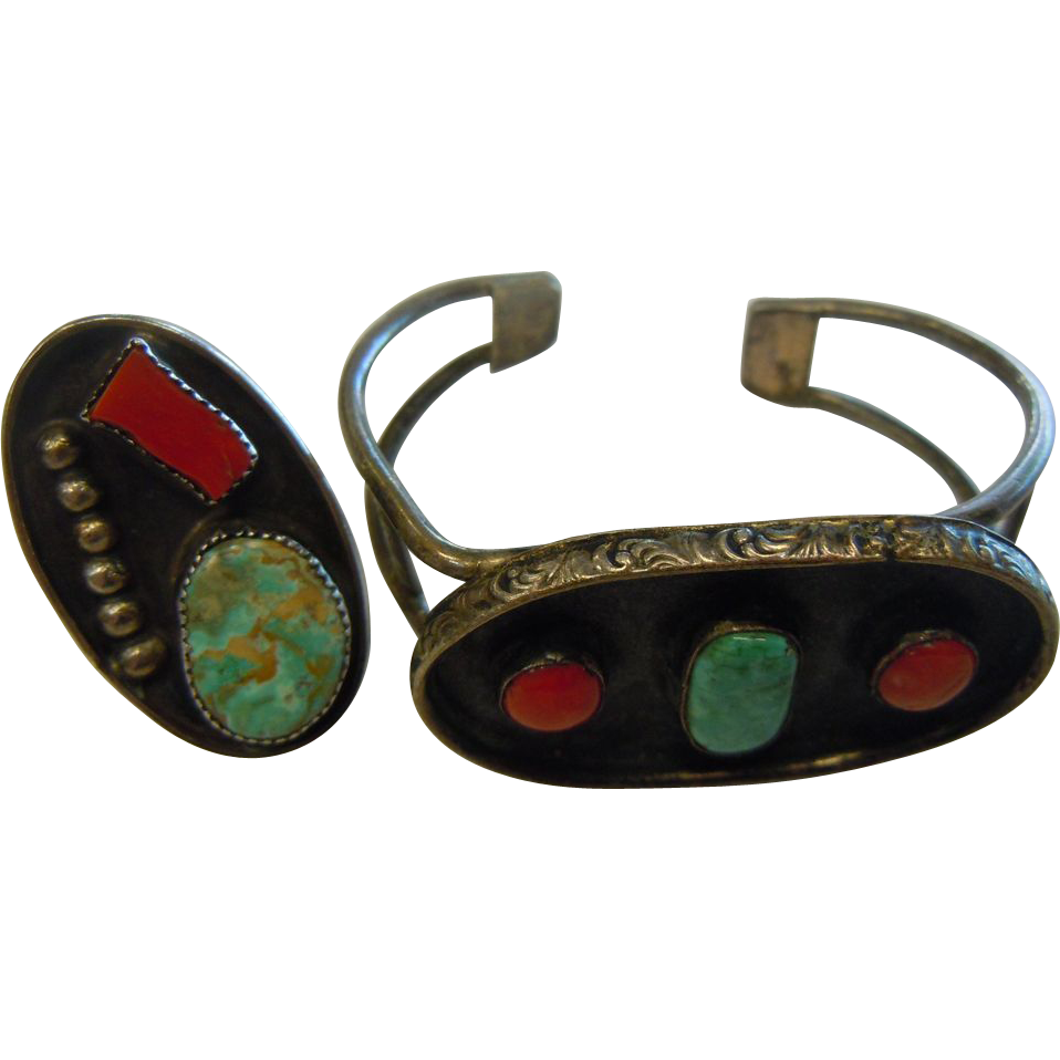 Awesome Silver Cuff Bracelet & Ring Set w/ Turquoise & Coral Stones