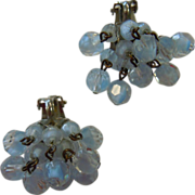 Vintage Faceted Glass Beaded Dangle Cluster Clip Earrings