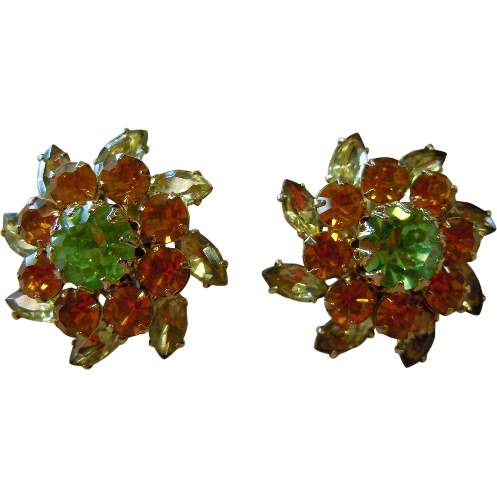Vintage Judy Lee Gold-Tone Rhinestone Clip Earrings