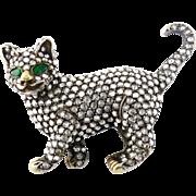 Vintage 18K Gold, Silver & Rose-cut Diamond Cat Brooch