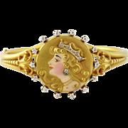 Antique Art Nouveau 14K Gold Enamel Diamond Byzantine Female Lady Bracelet,  c.1900
