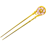 Antique Victorian 18K Gold & Enameled Flower Hair Pin Comb
