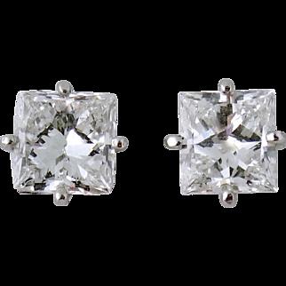 Estate Cartier Platinum 1ct D/1.03ct E VS1 Diamond Stud Earrings Studs COA/Receipt/GIA, c. 1997